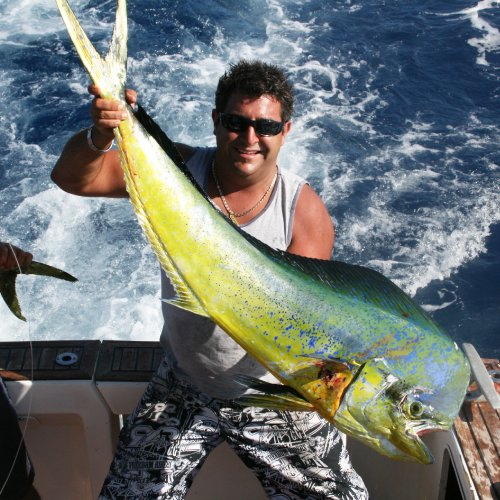 A man has caught a fish with Wahoo Fishing Charters.
